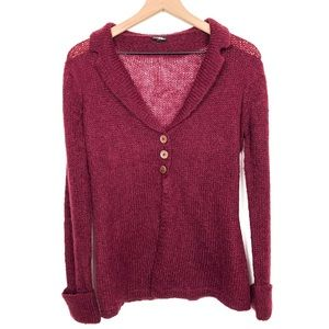 Wooden Ships Triple Button Front Burgundy Cardigan